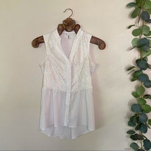 maurices   white lace peplum tank top
